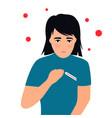 covid19-19 coronavirus symptoms fever girl vector image vector image