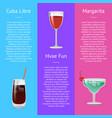 cuba libre have fun and margarita alcohol drinks vector image