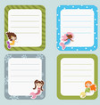 cute cards or stickers with mermaids theme design vector image vector image