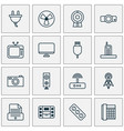 device icons set with socket music player vector image
