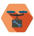 Drone Service Flat Hexagon Icon with Long Shadow vector image