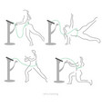 ems workout stages - poses electric muscular vector image