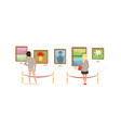 exhibition visitors viewing paintings on wall vector image vector image