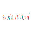 family characters in birthday hats dancing flat vector image