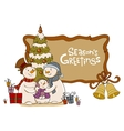 Family of the snowman near to a Christmas fur-tree vector image vector image