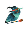 flat halloween owl in witch hat on broom vector image vector image
