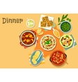 French cuisine vegetable and meat dishes icon vector image vector image