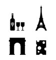 french icons set wine eiffel tower triumphal arch vector image