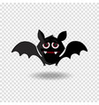 funny cartoon bat with fangs and red eyes on vector image