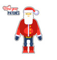 funny red santa claus with bag and gift present vector image vector image