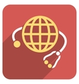 Global Medicine Flat Rounded Square Icon with Long vector image vector image