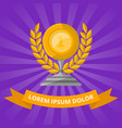 golden cup with laurel wreath on purple background vector image