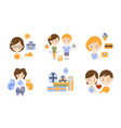 happy family modern lifestyle icons set travel vector image