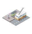 isometric bus station with ticket sell terminal vector image vector image