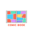linear colored comic book logo vector image vector image