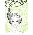 Long Hair Girl Portrait vector image vector image