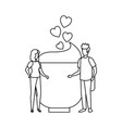 lovers couple with hearts floating and coffee cup vector image vector image