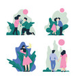 man and woman walking embracing and kissing on vector image vector image