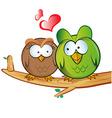 owl cartoon in love vector image vector image