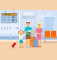 parents traveling with little daughter by airplane vector image vector image