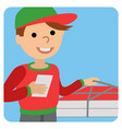 pizza delivery man in uniform standing with box in vector image vector image