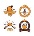 Retro beekeeper honey labels badges vector image vector image