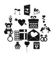 saint valentine icons set simple style vector image vector image