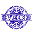 scratched textured save cash stamp seal with vector image vector image