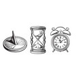 set different old clocks sundial hourglass vector image