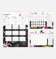 set of 2019 year calendar monthly and weekly vector image