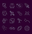 set of thin line astronomy and space icons vector image