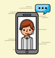 smartphone operator talking support customer vector image