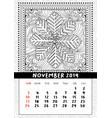 snowflake coloring book page calendar november vector image