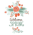 Spring word with floral elements vector image