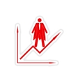 stylish sticker on paper man economic schedule vector image vector image