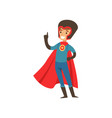 superhero boy character dressed in blue costume vector image vector image