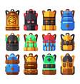 tourist backpack flat icons hiker knapsack vector image vector image