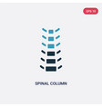 two color spinal column icon from medical concept vector image vector image