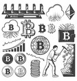 vintage bitcoin currency elements collection vector image vector image