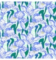 vintage pattern with field iris flowers vector image vector image
