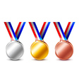 Golden silver and bronze medals isolated vector image