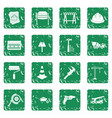 architecture icons set grunge vector image vector image