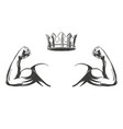 arm bicep strong hand and crown icon cartoon vector image vector image