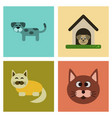 Assembly flat icons dog cats pets