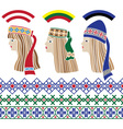 Baltic set of stencil Baltic girls vector image vector image