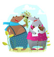 bear family with newborn baby presenting flowers vector image vector image