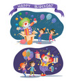 birthday background with happy kids and clown vector image vector image
