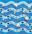 boats in the sea pattern background vector image