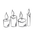 burning candles hand drawn set vector image