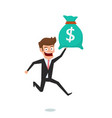 businessman holding money bag concept of earnings vector image vector image